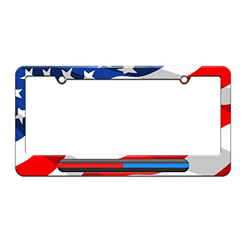 Graphics and More Thin Blue Red Line - Firefighter Police - License Plate Tag Frame - American Flag Design (Fire Police License Plate)
