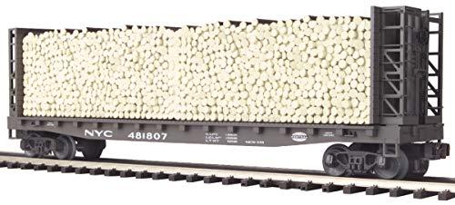 MTH 1:48 O Scale New York Central #481830 Bulkhead Flat w Log Load Car #20-98149