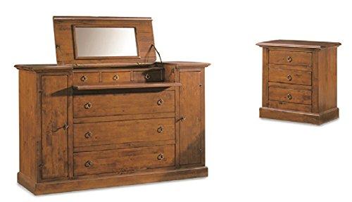 Schlafzimmer-Set: 1 Kommode + 2 Nachttische, Stil klassisch, aus Massivholz u. MDF, Ausführung Nussbaum Hochglanz