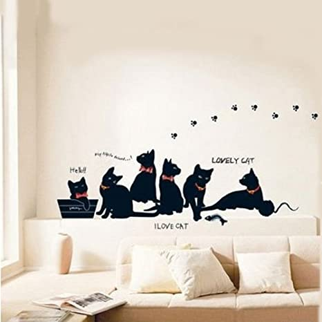Remarkable 1 X Removable Black Cat Family Wall Sticker Room Bcakground Decor Decal Beatyapartments Chair Design Images Beatyapartmentscom