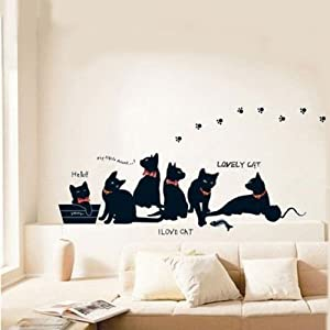 1 X Removable Black Cat Family Wall Sticker Room Bcakground Decor Decal.