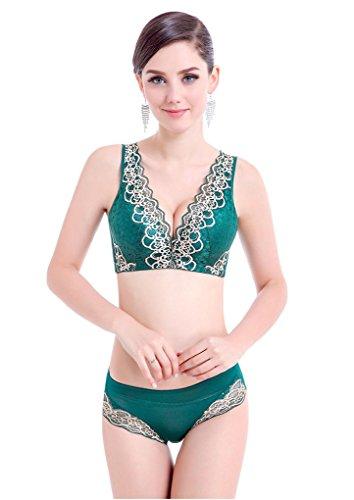 Ya Lida Adjustable underwear small chest lace vest no rims bra bra gather Green set