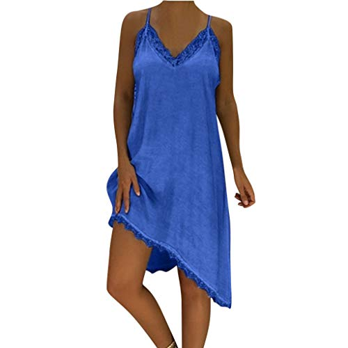 (Women Plus Size Dress Women's Strappy Solid Lace Irregular Loose Summer Beach Casual Midi Dress (XXXL, Blue))