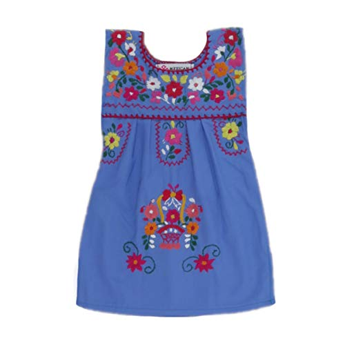 Mexican Clothing Co Baby Girls Mexican Dress Sleeveless Tehuacan Poplin NB Blue 9024