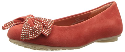 - Laura Ashley Kid's Ballerina Flat with Studded Bow, Coral Suede, 13 M US Little Kid