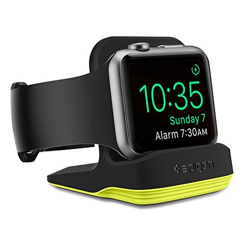 Spigen S350 Designed for Apple Watch Stand with Night Stand Mode for Series 4 / Series 3 / Series 2 / Series 1 / 44mm / 42mm / 40mm / 38mm, Patent Pending - Volt Black