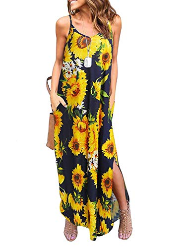 Sleeveless Strappy Cami Maxi Long Dress V Neck with Pockets Casual Summer Beach Skirt Cover Up Backless Side Slits Loose Solid Color for Women Yellow Print M