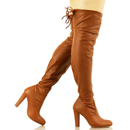 Guilty Schuhe Damen Komfortable Stretchy Chunky Blockabsatz Fitted Zurück Tie - Oberschenkel Hohe Overknee Winterstiefel Tanv1 Pu