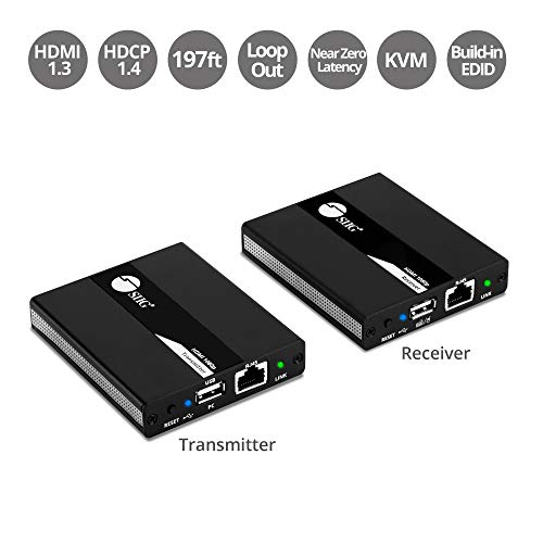 - SIIG 1080p HDMI USB KVM Extender Over Cat 5e/6, with PoC Transmitter and Receiver - Near Zero Latency - Signal up to 196ft 60M