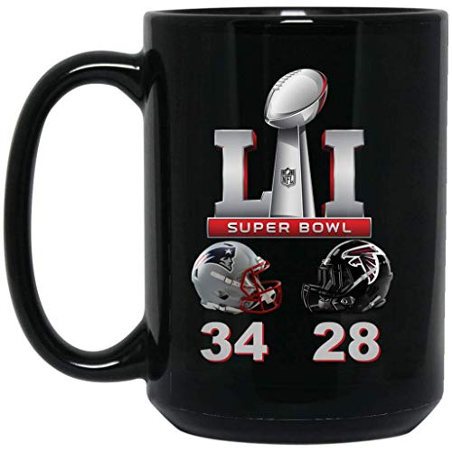 Atlanta Falcons Rocks - Patriots Super Bowl 51 Final Score Coffee Mug Patriots Mug 15 oz Black Ceramic Cup Great for Tea and Hot Chocolate LI NFL NFC AFC Perfect Gift for any Football Fan
