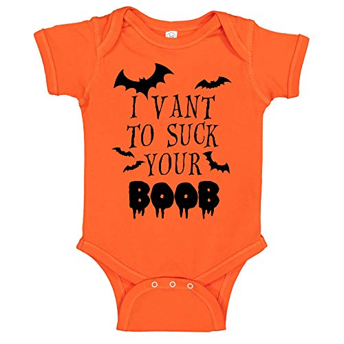 CBTwear I Vant to Suck Your Boob - Funny Halloween Romper Cute Novelty Infant One-Piece Baby Bodysuit (6 Months, Orange) -