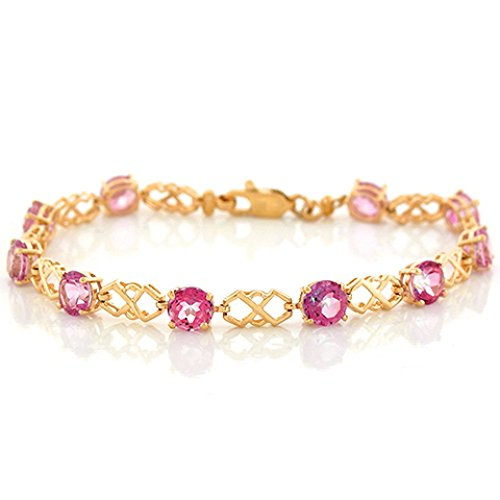 (10k Yellow Gold Pink Topaz Unique Cris Cross Designer Bracelet)