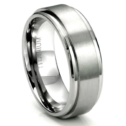 (Metal Factory Sz 12.0 Men's Titanium 8MM Flat High Polish/Brush Finish Wedding Band Ring)