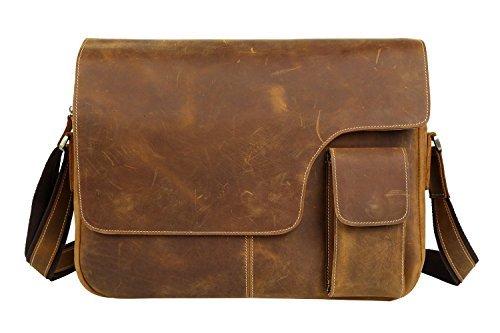 "BAIGIO Men Vintage Cowhide Leather 14"" Laptop Messenger Bag Retro Briefcase Work Shoulder Bag, Brown"