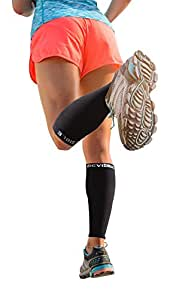 BeVisible Sports Calf Compression Sleeve (1 Pair, Black)