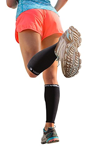 Calf Compression Sleeve - BeVisible Sports Shin Splint Leg Compression Socks for Men & Women - Great For Running, Cycling, Air Travel, Support, Circulation & Recovery - 1 Pair (Black, Large - XL)