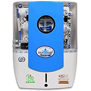 Aquadpure Copper + Alkaline Advanced RO Water Purifier with UV, UF & TDS for home 12 Liters, 8 Stage (Clear Blue Copper with Alkaline)