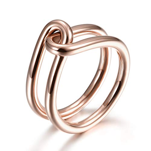 JINBAOYING Gold Rings Women Fashion Rings Knot Rings Cocktail Rings Gold Plated Stainless Steel Statement Engagement Promise Rings for Women Girls (Knot Rose Gold Ring, 8.25)