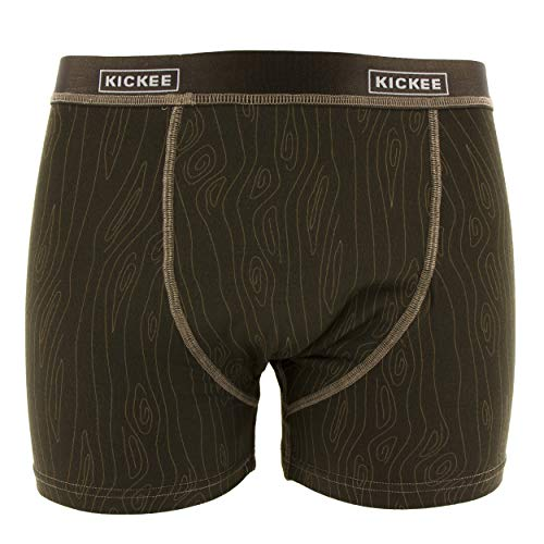 KicKee Men's Print Boxer Brief - Petrified Wood, - Boxer Mens Print