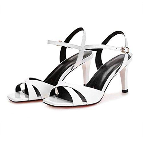W&LM Sra Tacón alto sandalias piel genuina sandalias multa Tacones altos Cabeza cuadrada aire Boca rasa Los zapatos de cuero White