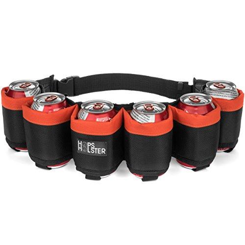 Hopsholster The Original Beer Belt - 6 Can Edition - The Ultimate in Beer Belts (Orange) ()
