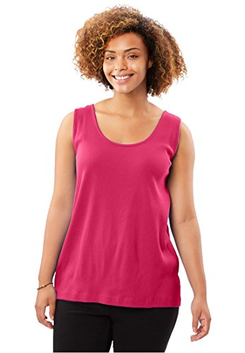 Knit Rib Cotton Tank (Women's Plus Size Rib-Knit Tank Sweet Raspberry,2X)