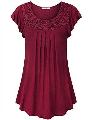 Youtalia Ladies Tops, Summer Trendy Flutter Sleeve Scoop Neck Pleated Flare A Line Tuinc Comfortable Loose Casual Flowy Juniors Top,Wine X-Large (Sleeve Pleated Tops Flutter)
