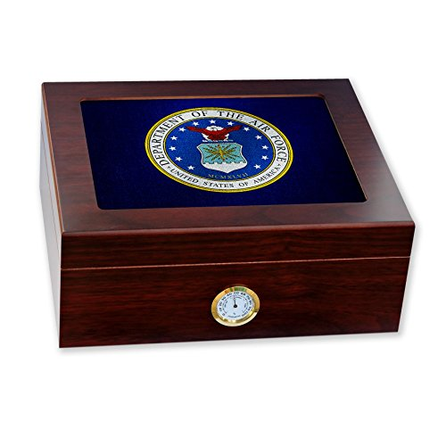 Force Air Seal Department - Premium Desktop Humidor - Glass Top -US Department of the Air Force, seal
