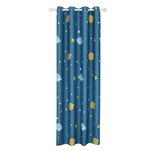 AiFish Grommet Blackout Curtains Blue Space Planet Galax Star Printed Exploration Room Darkening Thermal Insulated Window Treatment Drape Panels for Kids Room Boys Bedroom 1 Panel W39 x L84 inch