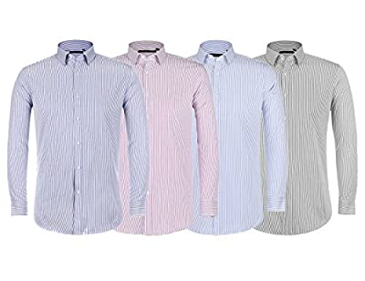 Verno Men's Dress Shirts Plaid & Striped Fabric Classic Fit Fashion Long Sleeve -The Most Popular Colors