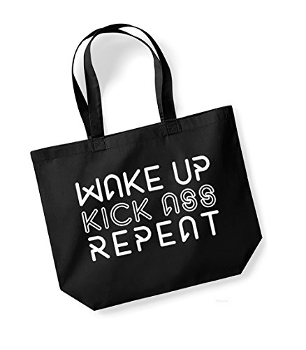 Wake Up, Kiss Ass, Repeat - Large Canvas Fun Slogan Tote Bag Black/White