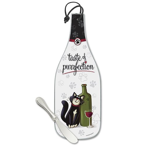 Taste of Purrfection Cat and Paw Print Hand-Decorated Wine Glass Cheese Board with Nickel-Plated Spreader