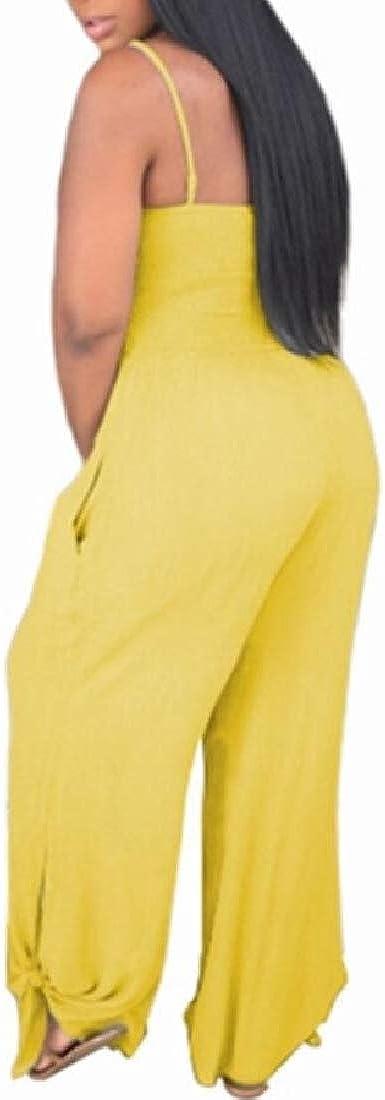 Qiangjinjiu Women Solid Sleeveless Strap Backless High Waist Wide Long Pants Jumpsuit