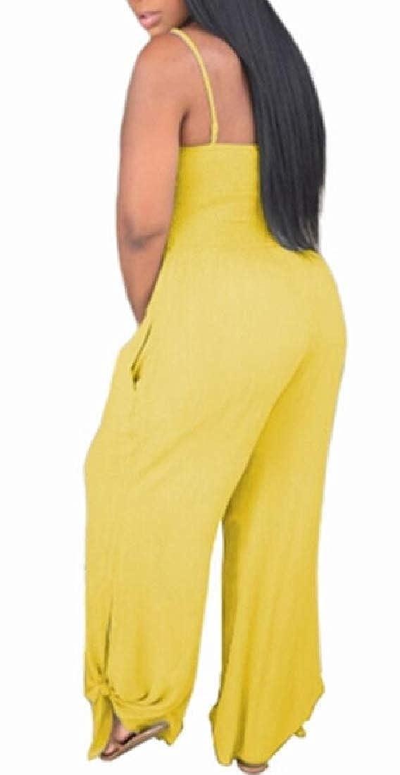 YONGM Women Spaghetti Strap Sleeveless Wide Leg Pants Backless Jumpsuit Rompers