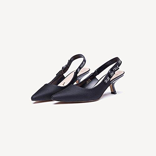 Black 18108 Hauteur Noir Chaussures Cm Unie Textile Synthétique du 5 Talon PU Couleur Sunny Rose SqC66