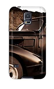 Excellent Galaxy S5 Case Tpu Cover Back Skin Protector Girl And Vintage Car Sepia Old Looking Photo Car