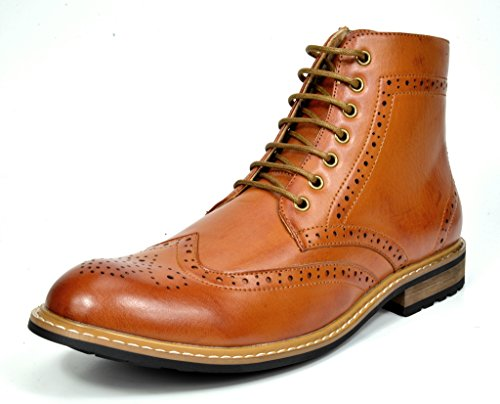 Bruno Marc Men's Bergen-01 Brown Leather Lined Oxfords Dress Ankle Boots – 8 M US