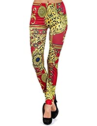 Red & Gold Victorian Style Animal Print Leggings