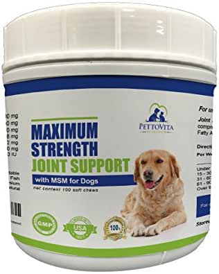 All Natural Max Strength Joint Support Supplements For Dogs - Glucosamine Chondroitin MSM & Omega 3 - Anti Inflammatory, Pain Reliever Mobility Enhancer - Supports Overall Joint Health -100 Soft Chews