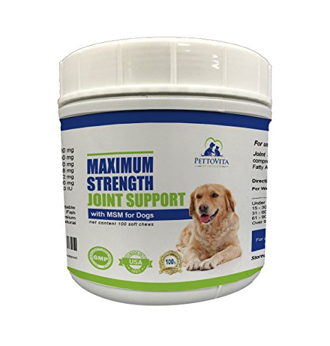 - All Natural Max Strength Joint Support Supplements For Dogs - Glucosamine Chondroitin MSM & Omega 3 - Anti Inflammatory, Pain Reliever Mobility Enhancer - Supports Overall Joint Health -100 Soft Chews