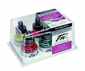 Fw Acrylic Artists Ink Primary Colors Set/6