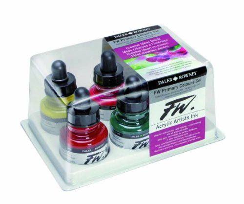 Daler-Rowney FW Acrylic Artists Ink, Set of 6 Primary Colors (160100006)
