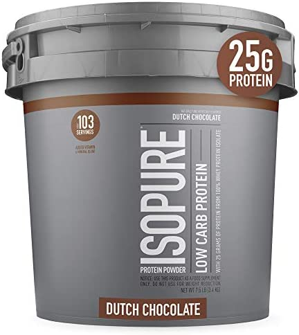 Isopure Low Carb, Vitamin C and Zinc for Immune Support, 25g Protein, Keto Friendly Protein Powder, 100 Whey Protein Isolate, Flavor Dutch Chocolate, 7.5 Pounds Packaging May Vary