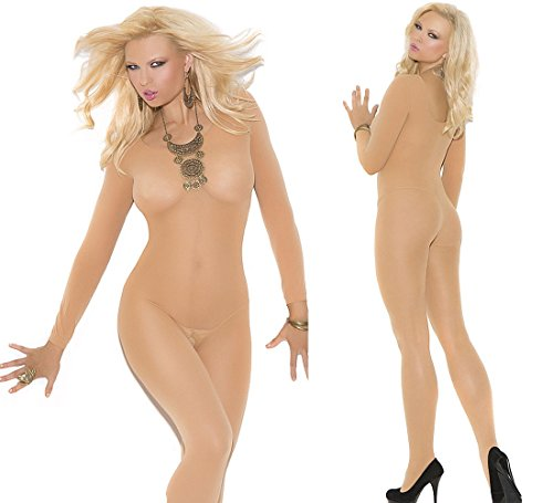 Plus Size Lingerie Long sleeve Catsuit Nude color XL-2X-3X One Size