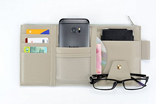 SweetyLady PU Leather Multi-function Car Space Sun Visor Organizer Bag Hanging Card Phone Storage Pouch (Auto Visor Organizer)