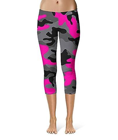 Dark Camouflage Hot Pink Sport Leggings - Capri Length, Mid/High Waist