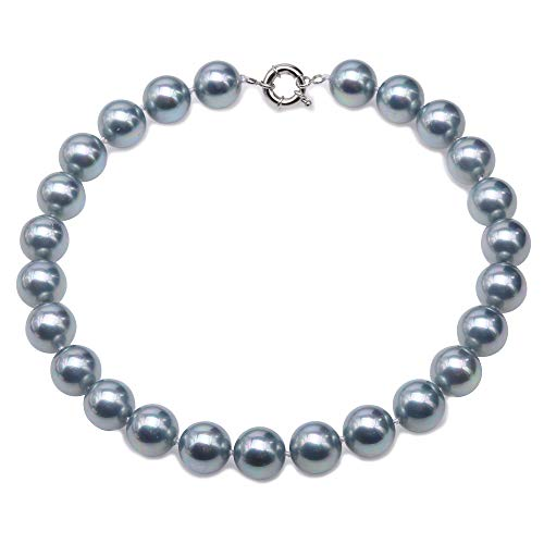 JYX Pearl Natural Shell Necklace South Sea Shell Single Necklace 16mm Round Gray Gems For Women Jewelry 18''