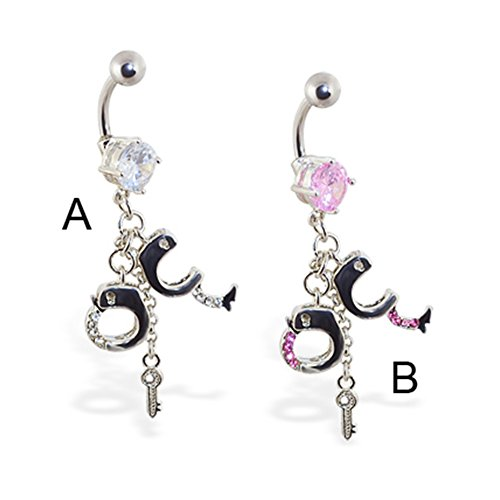 MsPiercing Navel Ring With Dangling Jeweled Handcuffs And Key, Pink - B -