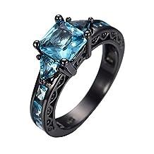 AYT Size 6/7/8/9/10 Black Gold 14KT Filled Zircon Aquamarine Finger Rings for Women Lady's Wedding Ring anillo anel