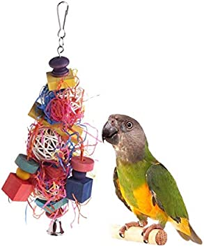 HEEPDD Pet Bird Chewing Toy Colorful Rainbow Wooden Blocks Hammock Swing with Ringing Bell for Parrot Macaw African Grey Budgie Cockatoo Parakeet Cockatiels Conure Lovebird